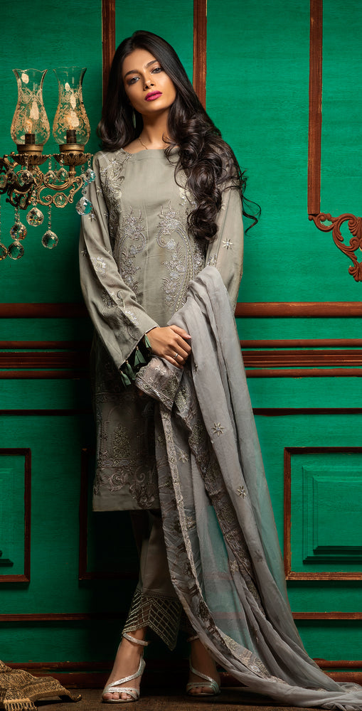 Embroidered Luxury Swiss Voile Shirt with Chiffon Dupatta & Embroidered Trouser Bunches | 3pc (WK-241)