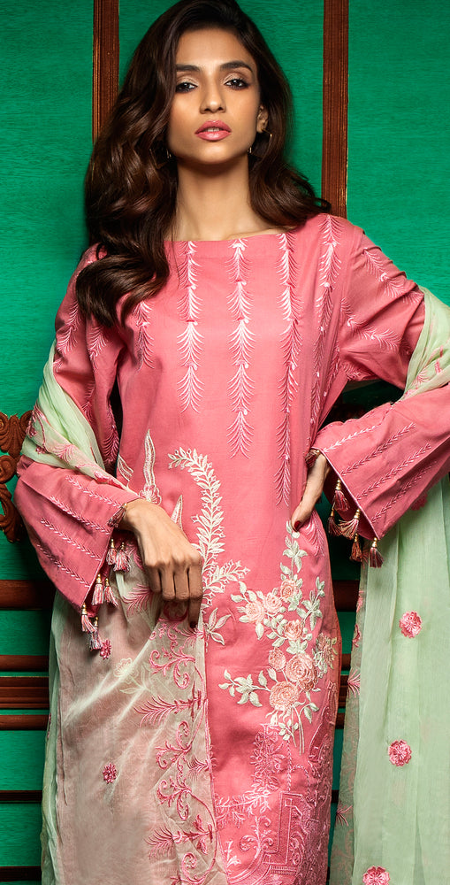 Embroidered Luxury Swiss Voile Shirt with Chiffon Dupatta & Embroidered Trouser Bunches | 3pc (WK-242)