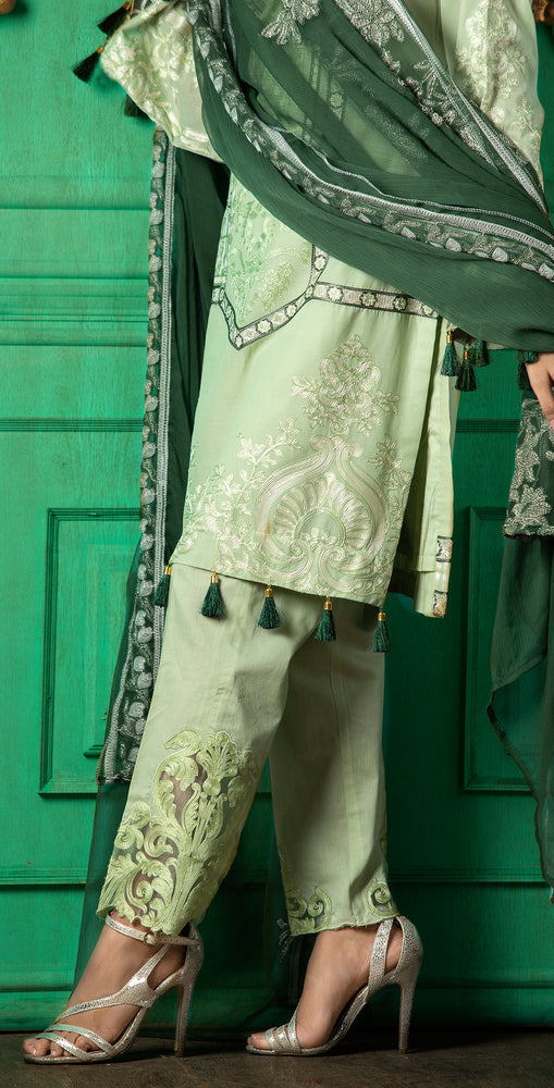 Embroidered Luxury Swiss Voile Shirt with Chiffon Dupatta & Embroidered Trouser Bunches | 3pc (WK-246)