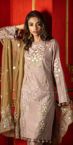 Embroidered Luxury Swiss Voile Shirt with Chiffon Dupatta & Embroidered Trouser Bunches | 3pc (WK-247)