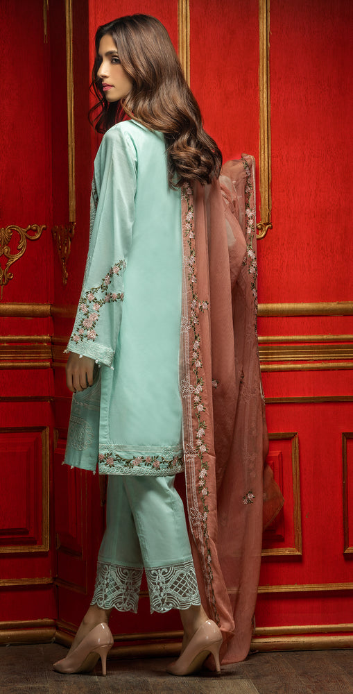 Embroidered Luxury Swiss Voile Shirt with Chiffon Dupatta & Embroidered Trouser Bunches | 3pc (WK-248)
