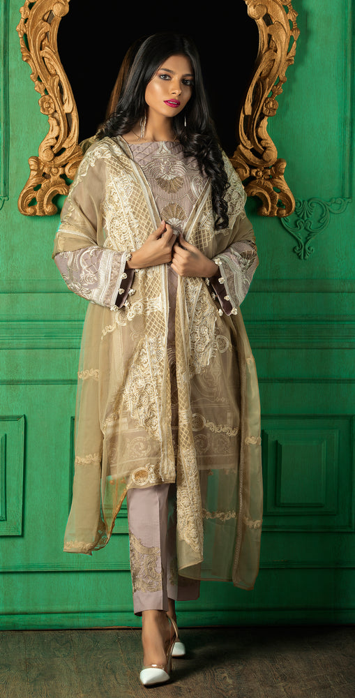 Embroidered Luxury Swiss Voile Shirt with Chiffon Dupatta & Embroidered Trouser Bunches | 3pc (WK-249)