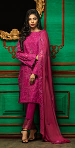 Embroidered Luxury Swiss Voile Shirt with Chiffon Dupatta & Embroidered Trouser Bunches | 3pc (WK-250)