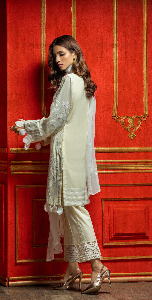 Embroidered Luxury Swiss Voile Shirt with Chiffon Dupatta & Embroidered Trouser Bunches | 3pc (WK-251)