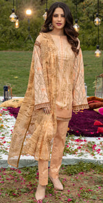 Embroidered Lawn Shirt with Chiffon Dupatta | 3pc (WK-257A)