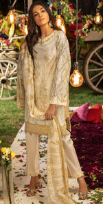 Embroidered Lawn Shirt with Chiffon Dupatta | 3pc (WK-257B)