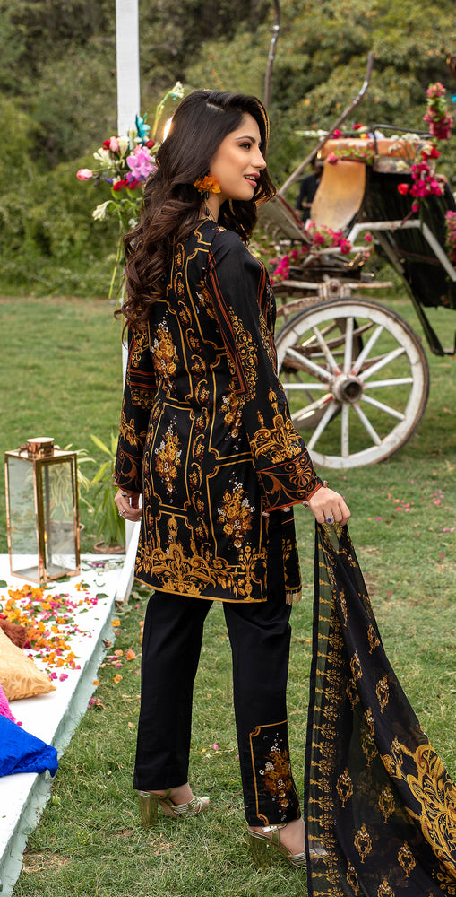 Embroidered Lawn Shirt with Chiffon Dupatta | 3pc (WK-258A)