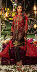 Embroidered Lawn Shirt with Chiffon Dupatta | 3pc (WK-258B)