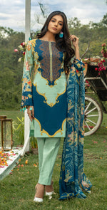 Embroidered Lawn Shirt with Chiffon Dupatta | 3pc (WK-259A)