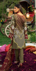 Embroidered Lawn Shirt with Chiffon Dupatta | 3pc (WK-259B)