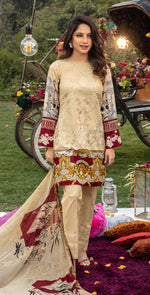 Embroidered Lawn Shirt with Chiffon Dupatta | 3pc (WK-260A)