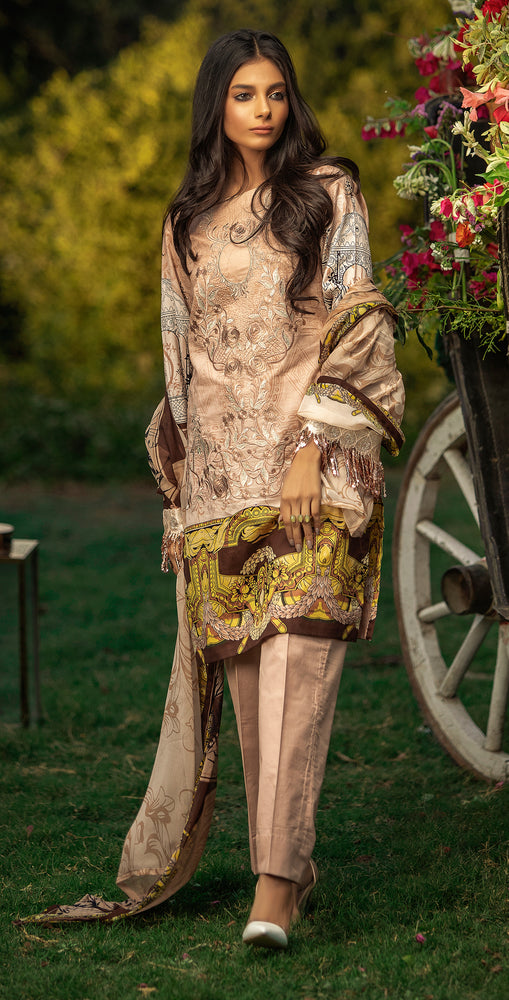 Embroidered Lawn Shirt with Chiffon Dupatta | 3pc (WK-260B)