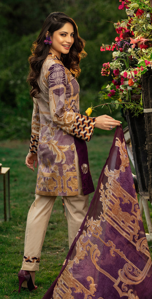 Embroidered Lawn Shirt with Chiffon Dupatta | 3pc (WK-261A)