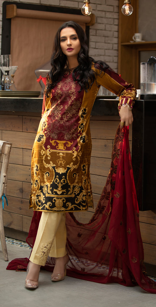 Stitched Embroidered Lawn Shirt with Chiffon Embroidered Dupatta & Trouser Bunches I 3pc (WK-262A)