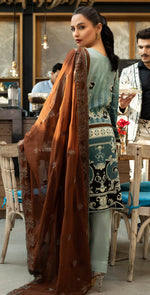 Embroidered Lawn Shirt with Chiffon Embroidered Dupatta & Trouser Bunches | 3pc (WK-262B)
