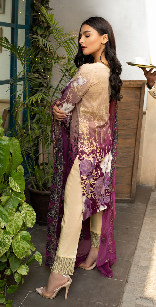 Stitched Embroidered Lawn Shirt with Chiffon Embroidered Dupatta & Trouser Bunches | 3pc (WK-263A)