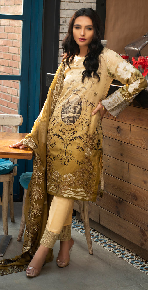 Stitched Embroidered Lawn Shirt with Chiffon Embroidered Dupatta & Trouser Bunches | 3pc (WK-263B)