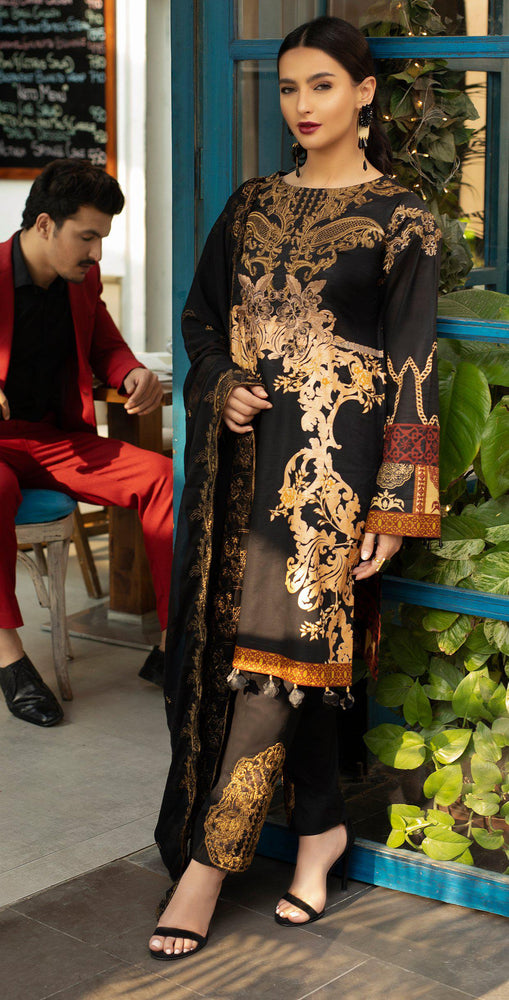 Embroidered Lawn Shirt with Chiffon Embroidered Dupatta & Trouser Bunches | 3pc (WK-264A)