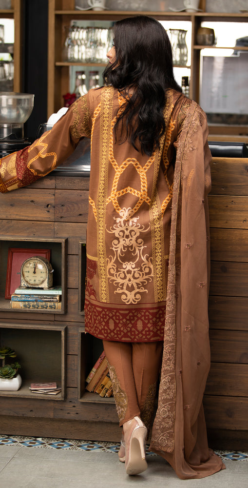 Stitched Embroidered Lawn Shirt with Chiffon Embroidered Dupatta & Trouser Bunches | 3pc (WK-264B)