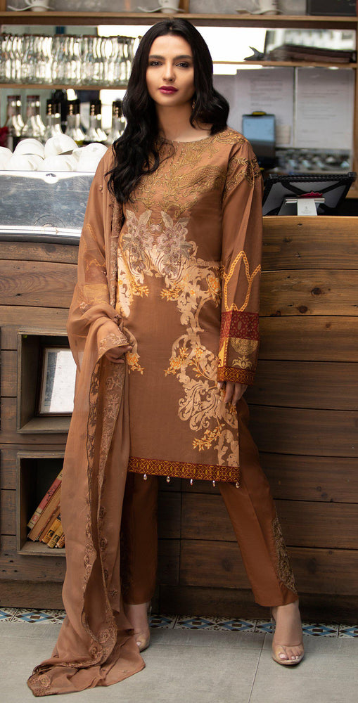 Embroidered Lawn Shirt with Chiffon Embroidered Dupatta & Trouser Bunches | 3pc (WK-264B)
