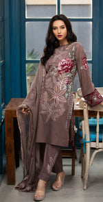 Embroidered Lawn Shirt with Chiffon Embroidered Dupatta & Trouser Bunches | 3pc (WK-265A)
