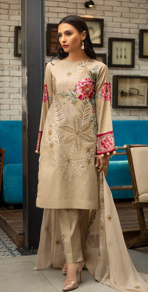 Embroidered Lawn Shirt with Chiffon Embroidered Dupatta & Trouser Bunches | 3pc (WK-265B)