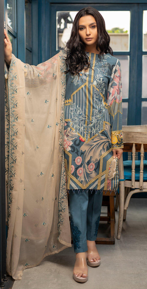 Embroidered Lawn Shirt with Chiffon Embroidered Dupatta & Trouser Bunches | 3pc (WK-266A)