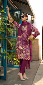 Stitched Embroidered Lawn Shirt with Chiffon Embroidered Dupatta & Trouser Bunches | 3pc (WK-266B)