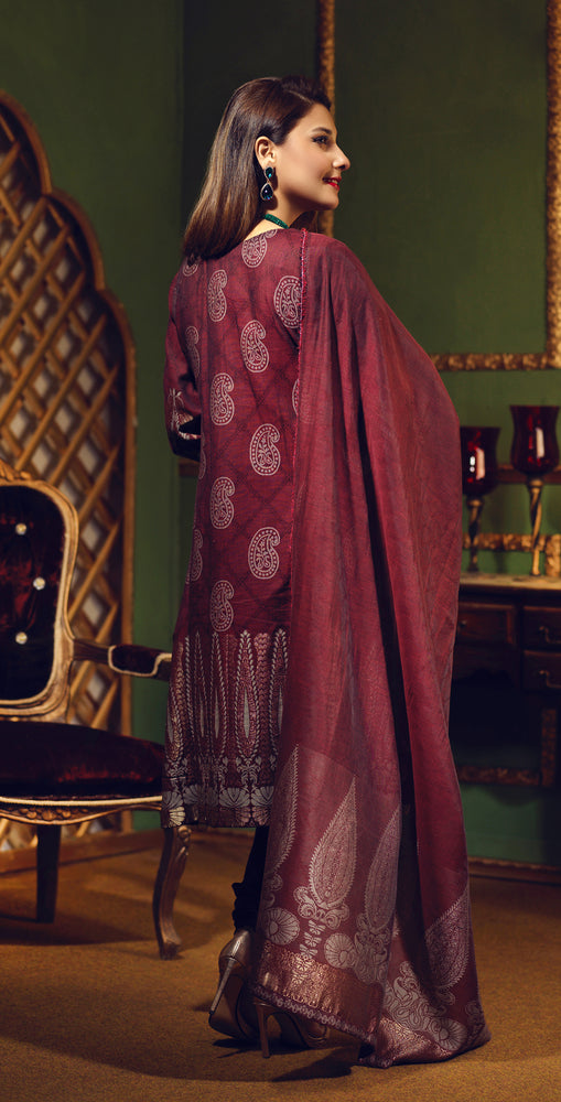 Two Tone Jacquard Festive 3pc With Exclusive Embroidered Front & Textured Trousers (WK-267)