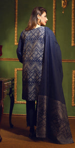 Two Tone Jacquard Festive 3pc With Exclusive Embroidered Front & Textured Trousers (WK-268)