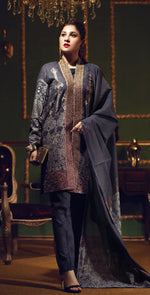 Two Tone Jacquard Festive 3pc With Exclusive Embroidered Front & Textured Trousers (WK-270)