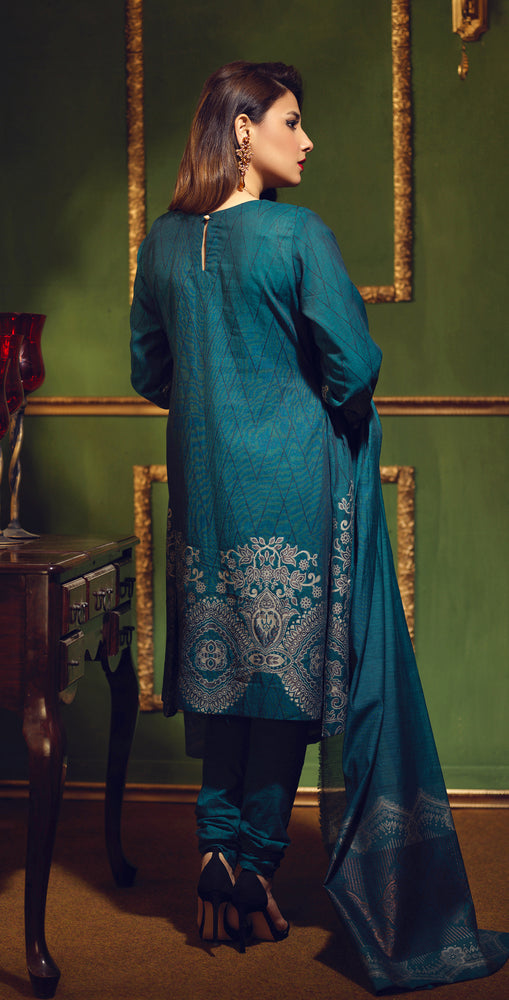 Two Tone Jacquard Festive 3pc With Exclusive Embroidered Front & Textured Trousers (WK-272)