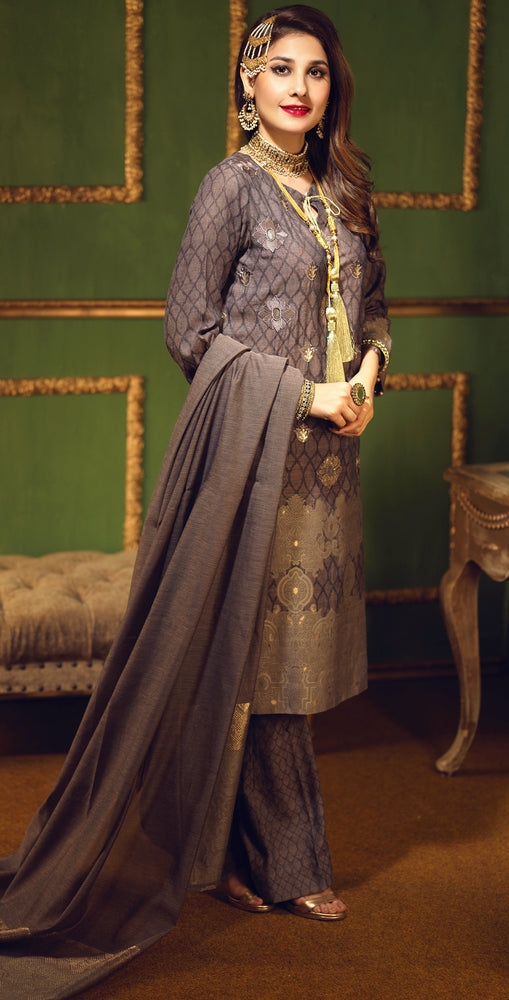Two Tone Jacquard Festive 3pc With Exclusive Embroidered Front & Textured Trousers (WK-273)