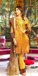 Festive Digital Printed Lawn Shirt with Embroidered Front  & Banarsi Digital Dupatta | Rococo 3pc (WK-275)