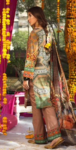 Festive Digital Printed Lawn Shirt with Embroidered Front  & Banarsi Digital Dupatta | Rococo 3pc (WK-277)