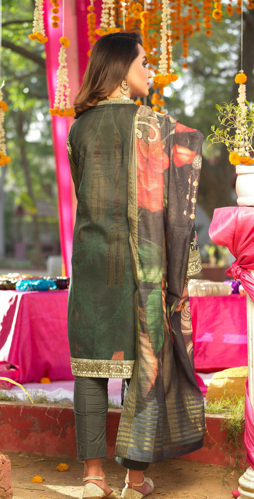 Festive Digital Printed Lawn Shirt with Embroidered Front  & Banarsi Digital Dupatta | Rococo 3pc (WK-278)