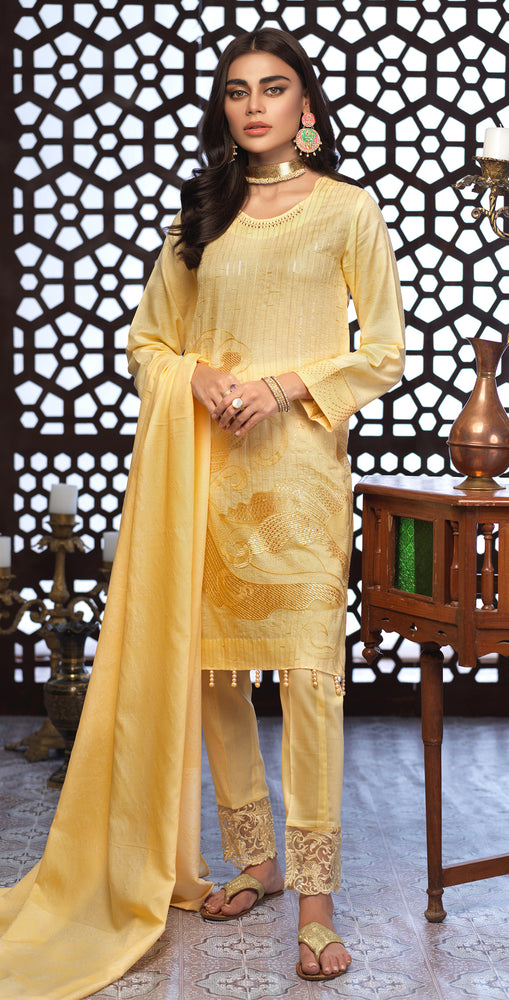 Festive Eid Jacquard Lawn Dress with Embroidered Front  & Trouser Bunches | 3pc (WK-296)