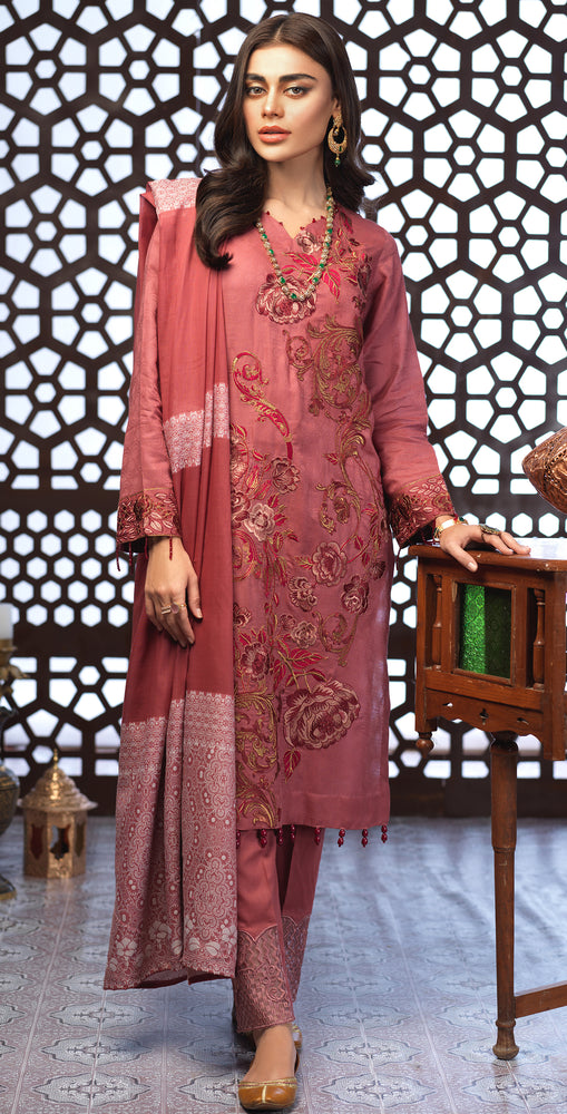 Festive Eid Jacquard Lawn Dress with Embroidered Front  & Trouser Bunches | 3pc (WK-297)