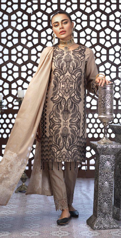 Festive Eid Jacquard Lawn Dress with Embroidered Front  & Trouser Bunches | 3pc (WK-298)