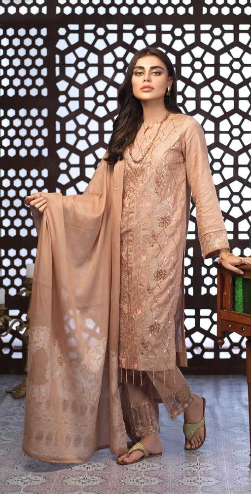 Festive Eid Jacquard Lawn Dress with Embroidered Front  & Trouser Bunches | 3pc (WK-300)