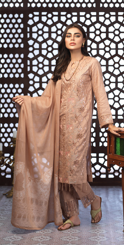 Festive Eid Jacquard Lawn Dress with Embroidered Front  & Trouser Bunches I 3pc (WK-300)