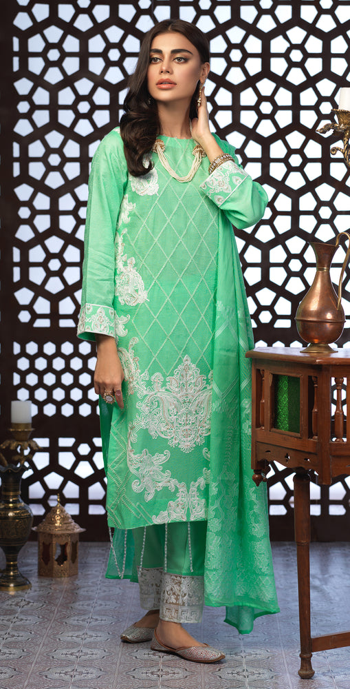 Festive Eid Jacquard Lawn Dress with Embroidered Front  & Trouser Bunches | 3pc (WK-301)