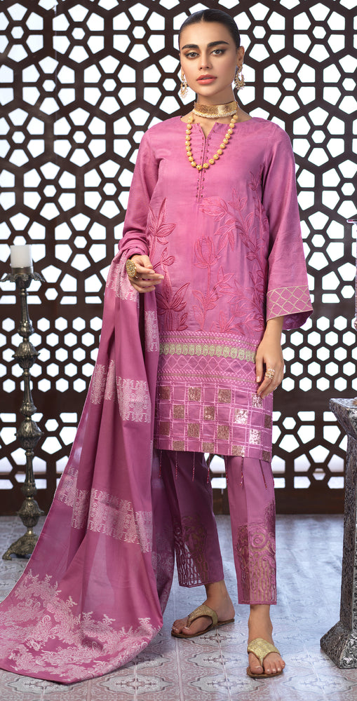 Festive Eid Jacquard Lawn Dress with Embroidered Front  & Trouser Bunches | 3pc (WK-302)