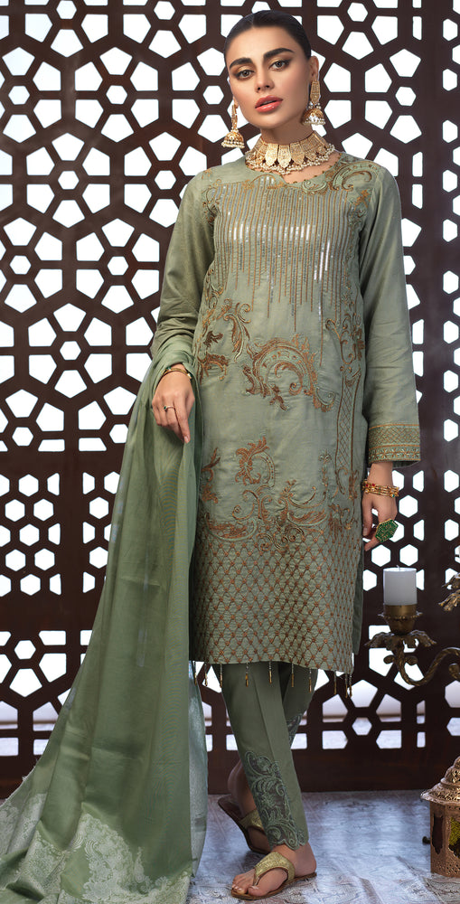 Festive Eid Jacquard Lawn Dress with Embroidered Front  & Trouser Bunches | 3pc (WK-303)