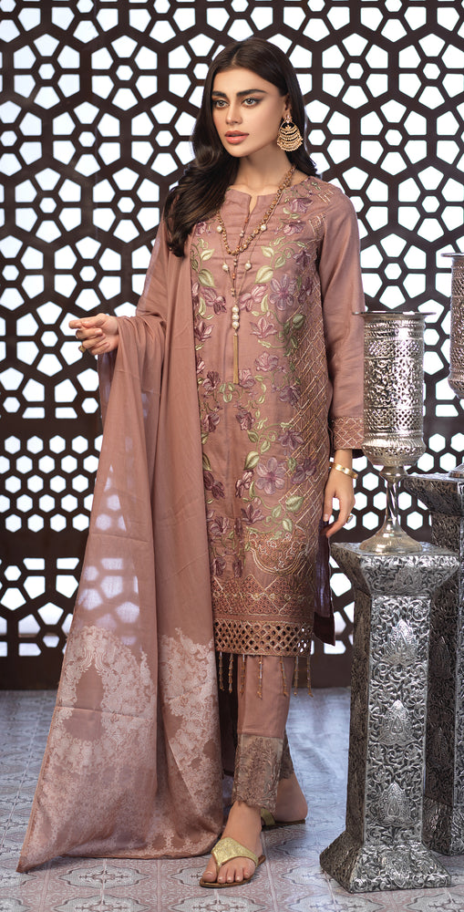 Festive Eid Jacquard Lawn Dress with Embroidered Front  & Trouser Bunches | 3pc (WK-304)