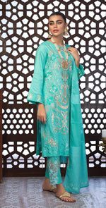 Festive Eid Jacquard Lawn Dress with Embroidered Front  & Trouser Bunches | 3pc (WK-305)