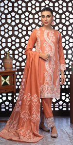 Festive Eid Jacquard Lawn Dress with Embroidered Front  & Trouser Bunches | 3pc (WK-306)