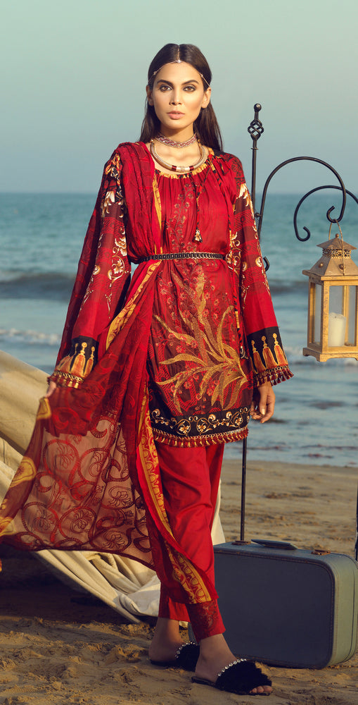 Faustina Lawn 3pc With Embroidered Front , Embroidered Duppatta  & Trouser Bunches (WK-287A)