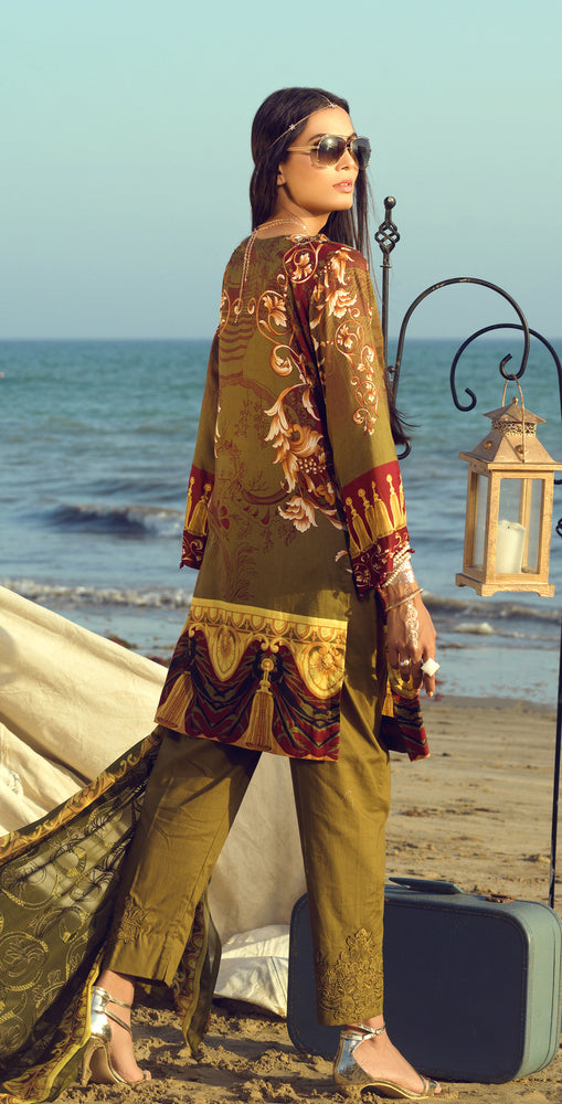 Stitched Faustina Lawn 3pc With Embroidered Front , Embroidered Duppatta  & Trouser Bunches (WK-287B)