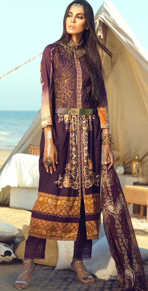 Faustina Lawn 3pc With Embroidered Front , Embroidered Duppatta  & Trouser Bunches (WK-288A)